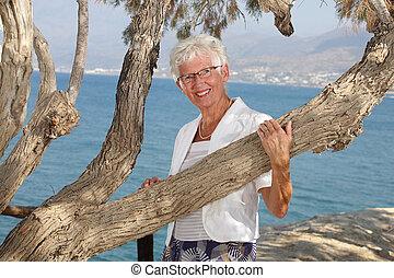 piękny, starsza kobieta