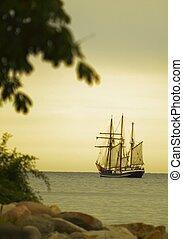 piękny, statek, morze, nawigacja, zmierzch
