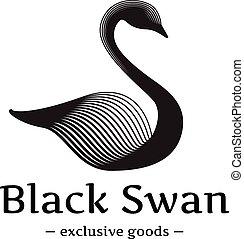 piękny, styl, łabędź, logotype, minimalistic, wektor, czarny...
