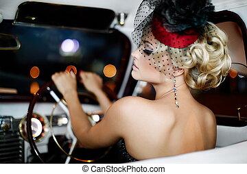 piękny, styl, fason, stary, posiedzenie, wóz, makijaż, jasny, retro, blond, sexy, portret, szykowny, dziewczyna, wzór