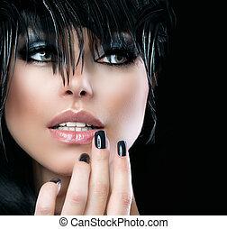 piękny, styl, Fason, sztuka, dziewczyna, kobieta, portret,...