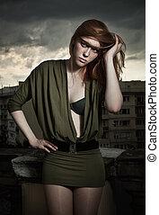 piękny, styl, kobieta, fotografia, rudzielec, moda
