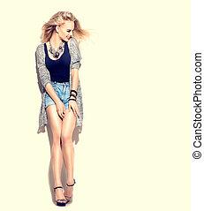 piękny, styl, kobieta, młody, przypadkowy, posing.