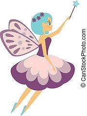 piękny, styl, magia, przelotny, elf, wand., księżna, klaszczący, stick., wróżka, rysunek