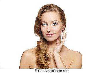 piękny, styl, samica, kędzierzawy, makijaż, odizolowany, włosy, jasny, tło, portret, wzór, biały