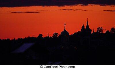 piękny, sylwetka, klasztor, niebo, przeciw, zachód słońca, pomarańcza