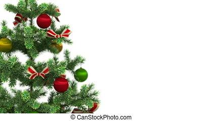piękny, szczelnie-do góry, drzewo, boże narodzenie