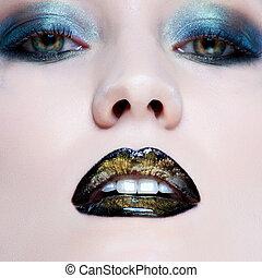 piękny, szczelnie-do góry, kobieta, młody, blask, perła, usteczka, czarnoskóry, charakteryzacja, portret, kaukaski
