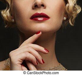 piękny, szczelnie-do góry, kobieta, strzał, twarz, usteczka, czerwony