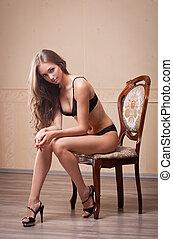 piękny, szczupły, brunetka, lingerie.