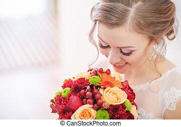 piękny, szlachecki, panna młoda, ślub
