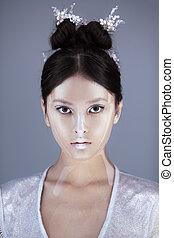 piękny, sztuka, hairstyle., twórczy, girl., asian, charakteryzacja, portret
