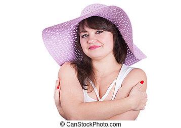 piękny, tło., dziewczyna, kapelusz, biały
