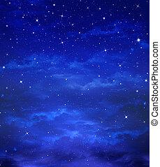 piękny, tło, nightly, niebo