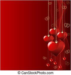 piękny, tło., valentine