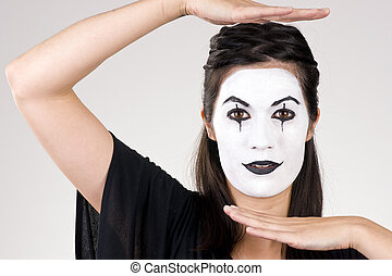 piękny, teatralny, kobieta, taniec, brunetka, mim, spełnienie, biały