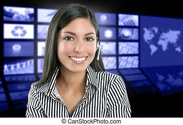 piękny, telewizja, kobieta, prezenter, indianin, nowość