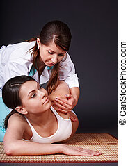 piękny, thai, massage., posiadanie, dziewczyna, biały