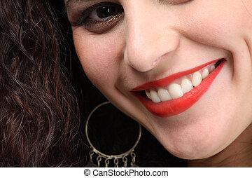 piękny, toothy, closeup, uśmiech
