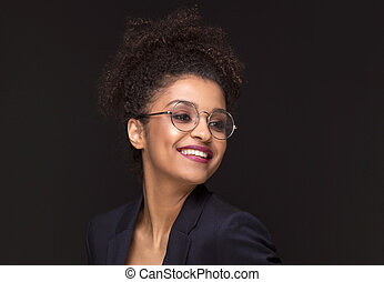 piękny, toothy, kobieta, smile., afro