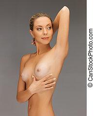 piękny, topless, kobieta