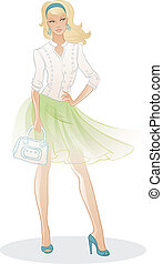 piękny, torba, kobieta, fason
