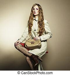 piękny, torebka damska, kobieta, młody, portret