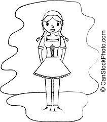 piękny, tradycyjny, bawarka, kobieta, strój