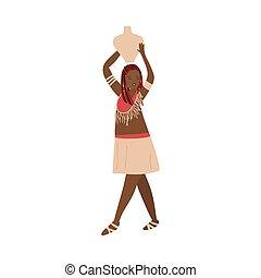 piękny, tradycyjny, kobieta, dzbanek, woda, aborygen, afrykanin, odzież