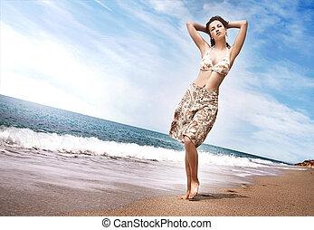 piękny, tropikalna kobieta, plaża