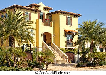 piękny, trzy, historia, hiszpański, dom