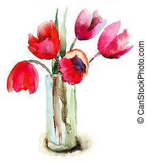 piękny, tulipany, kwiaty