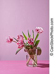 piękny, tulipany, w, niejaki, szklany wazon, na, niejaki, różowy, tło.
