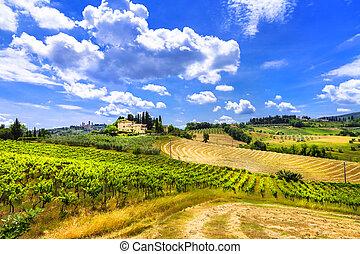 piękny, tuscany, włochy, landscapes.