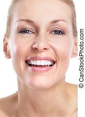 piękny, uśmiech, woman., teeth.