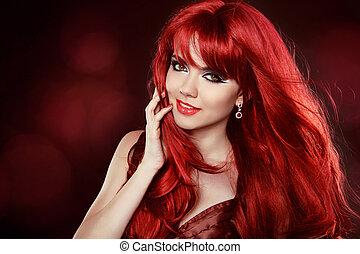 piękny, uśmiechanie się, zdrowy, kudły, hair.hairstyle., falisty, makeup., make-up., portret, pretty., woman., dziewczyna, czerwony, szczęśliwy