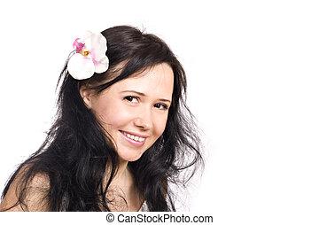 piękny, uśmiechnięta kobieta, na białym, tło