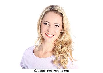 piękny, uśmiechnięta kobieta, na białym