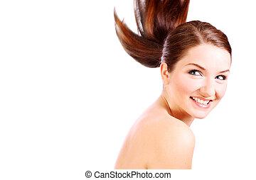 piękny, uśmiechnięta kobieta