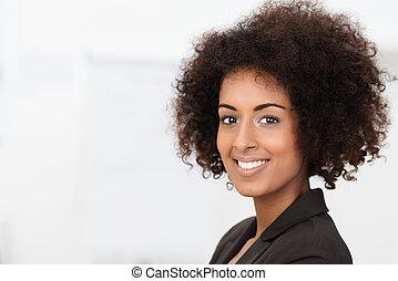 piękny, uroczy, amerykańska kobieta, afrykanin