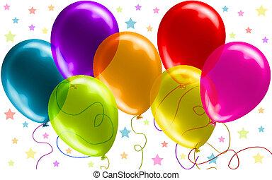 piękny, urodziny, balony