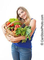 piękny, vegeta, kobieta, zdrowy, młody, pełny, kosz, świeży