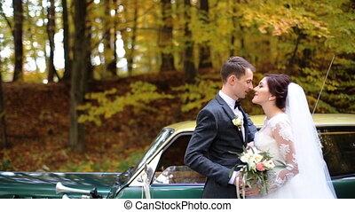 piękny, właśnie żonaty, para całująca, każdy, inny, przed, niejaki, zielony, retro, wóz, na, przedimek określony przed rzeczownikami, park.