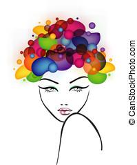 piękny, włosy, abstrakcyjny, samica