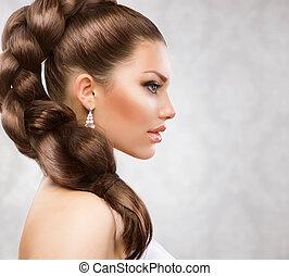 piękny, włosy, długi