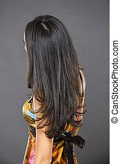 piękny, włosy, kobieta, brunetka, długi
