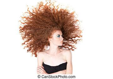 piękny, włosy, kobieta, czerwony
