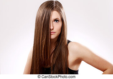 piękny, włosy, kobieta, długi