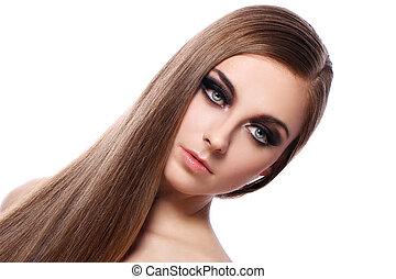 piękny, włosy, kobieta, młody