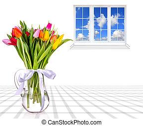piękny, wazon, tulipany, bukiet, umieszczony, okno.,...